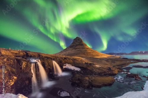 A wonderful night with Kp 5 . Northern lights mountain Kirkjufell in Iceland. - 199788122