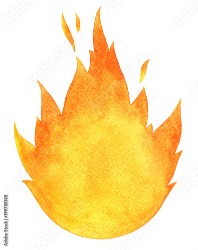 obraz lub plakat Watercolor fire background isolated on white. Tongues of flame, template for text or lettering. Hand drawn yellow and orange aquarelle burning bonfire, campfire silhouette with sparks.