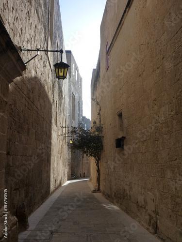 Plexiglas Smalle straatjes wąska uliczka starego miasta w europie południowej z latarniami i domami z kamienia
