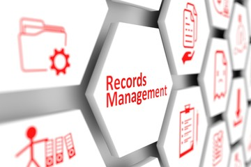 Records management concept cell blurred background 3d illustration