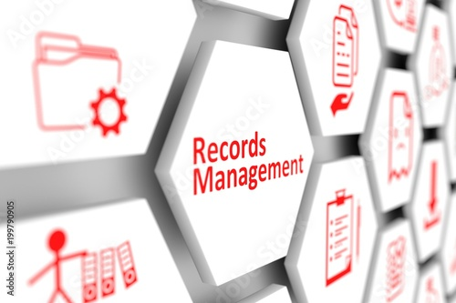Records management concept cell blurred background 3d illustration - 199790905