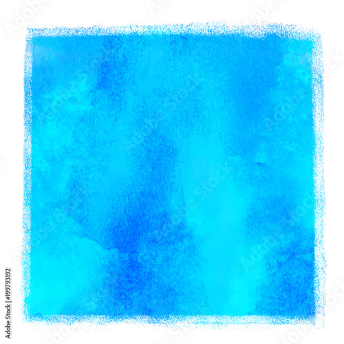 Watercolor square blue paint stain
