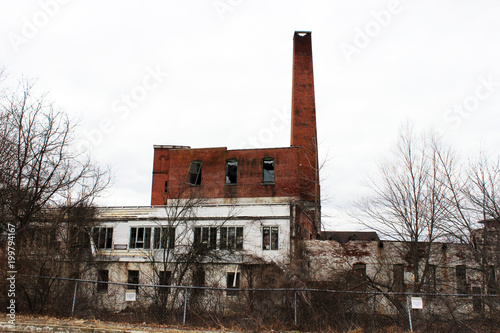 Fotobehang Oude verlaten gebouwen Old abandoned brick industrial factory building