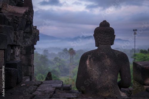Fotobehang Boeddha Buddha head from behind on a misty morning at Borobudur Temple, Java, Indonesia
