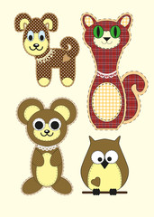 Set of Cute cartoon Teddy bear, cat, dog, owl in flat design for greeting card, invitation and logo with fabric texture.