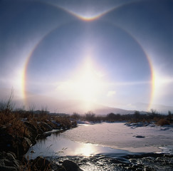 Halo in Yampa Valley at sunrise;  Steamboat Springs, Colorado