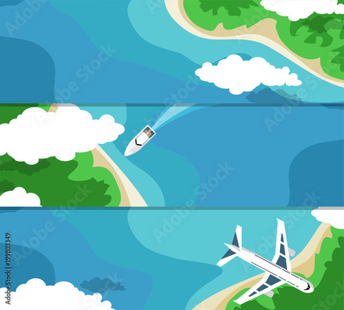 Three horizontal banner with the sea and the islands for your advertising. Flat style.