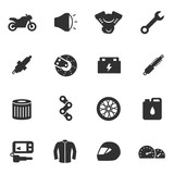 Motorcycle, monochrome icons set. Details and attributes for riding a motorbike, simple symbols collection