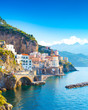 Morning view of Amalfi cityscape on coast line of mediterranean sea, Italy