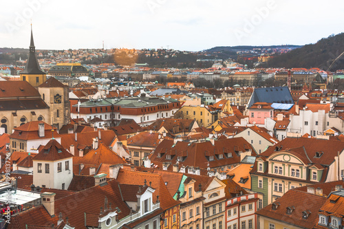 Panorama of the city of Prague. The old part of the city. Beautiful roofs of shingles. Ancient buildings and churches. - 199813726
