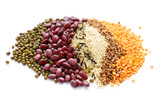 different cereals - beans, lentils, rice on a white background - 199816134