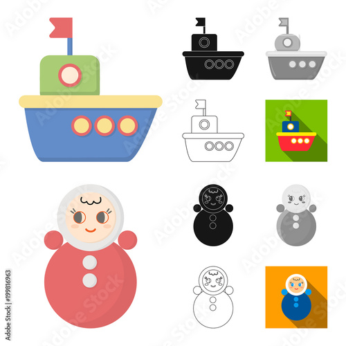 Children toy cartoon,black,flat,monochrome,outline icons in set collection for design. Game and bauble vector symbol stock web illustration.