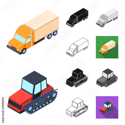 Fridge magnet Different types of transport cartoon,black,flat,monochrome,outline icons in set collection for design. Car and ship isometric vector symbol stock web illustration.