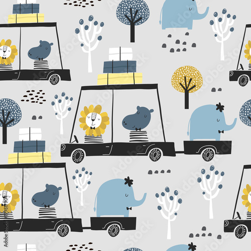 Seamless childish pattern with cute friends, lion, hippo, elephant in the car. Creative kids texture for fabric, wrapping, textile, wallpaper, apparel. Vector illustration - 199817904