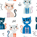 Seamless pattern with cute colorful cats and hand drawn elements. Creative childish texture. Great for fabric, textile Vector Illustration - 199818141