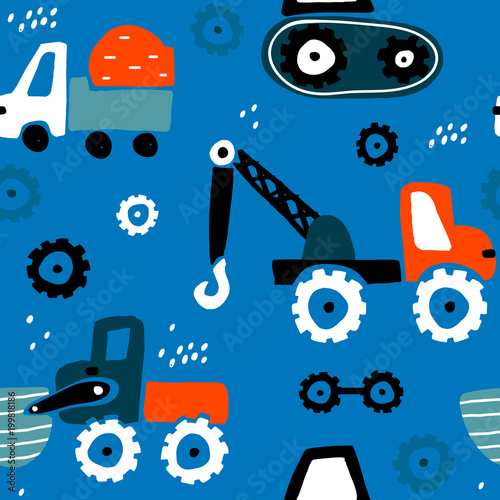 Seamless childish pattern with hand drawn cars. Creative kids texture for fabric, wrapping, textile, wallpaper, apparel. Vector illustration - 199818186