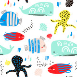 Seamless childish pattern with fish, octopust, whales and hand drawn shapes. Creative under sea kids texture for fabric, wrapping, textile, wallpaper, apparel. Vector illustration - 199818502
