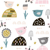 Seamless childish pattern with fairy flowers, birds, butterflies. Creative kids texture for fabric, wrapping, textile, wallpaper, apparel. Vector illustration - 199818585