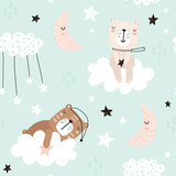 Seamless childish pattern with cute bears on clouds, moon, stars. Creative scandinavian style kids texture for fabric, wrapping, textile, wallpaper, apparel. Vector illustration - 199818776