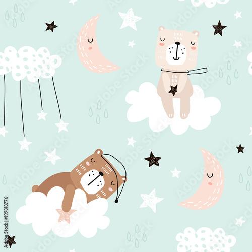 Seamless childish pattern with cute bears on clouds, moon, stars. Creative scandinavian style