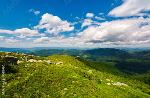 Fotobehang Bleke violet grassy slope of the mountain on a cloudy day. beautiful summer landscape of Carpathian mountains