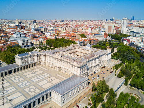 Foto op Aluminium Madrid The Royal Palace of Madrid in Madrid city, Spain
