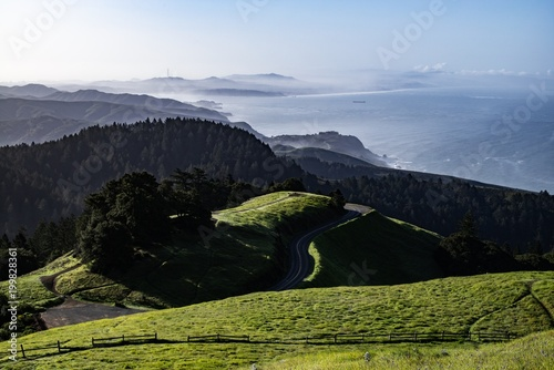 Foto op Plexiglas Zwart Road to Mt Tam Sunrise