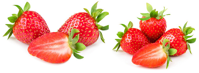 Strawberry isolated on white background. Red ripe whole strawberry with sliced half and leaves, macro. © nataliazakharova