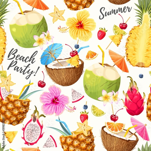 Cotton fabric Summer seamless cocktail background