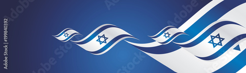Israel Independence Day waving flags two fold blue landscape background banner greeting card