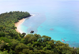 Beautiful banana beach with its turquoise waters and lush jungle on Principe island, Sao Tome and Principe