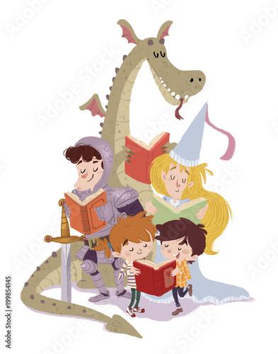Leinwanddruck Bild dragon,princesa,caballero con niños leyendo