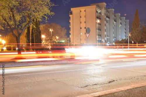 Fototapeta Night Traffic in an Urban City, Long Exposure