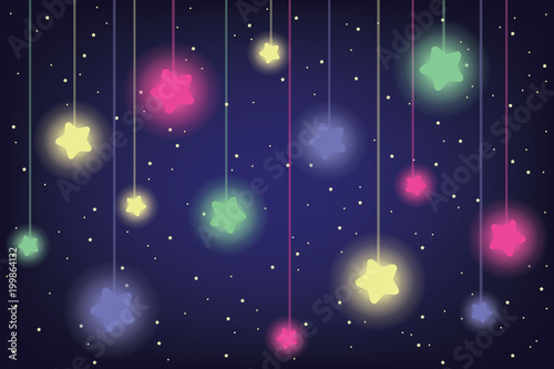 colorful shiny stars in night sky vector illustration