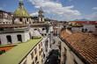 Quadro Vista dei tetti di Napoli dal ponte della Sanità, con un cielo nuvoloso ed il Vesuvio sullo sfondo