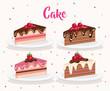 set cake portions icons vector illustration design