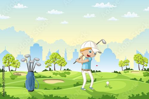Boy plays golf on a golf course, vector illustration - 199880935