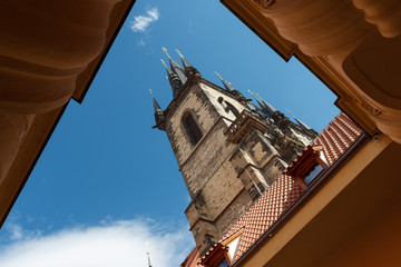 Architectural monument of Prague. View from below the tower.