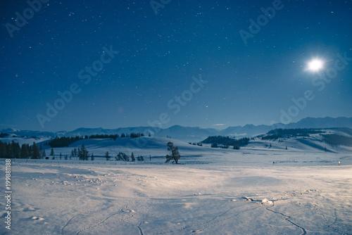 Plexiglas Grijs The night in mountains