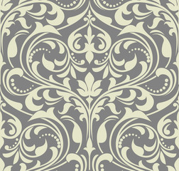 Wallpaper in the style of Baroque. A seamless vector background. Grey floral ornament. Graphic vector pattern