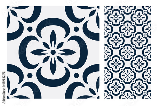vintage tiles patterns antique seamless design in Vector illustration - 199882173