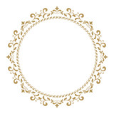 Decorative frame. Elegant vector element for design in Eastern style, place for text. Golden outline floral border. Lace illustration for invitations and greeting cards - 199882799