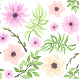 Vector Seamless Pattern of Pink Flowers and Green Leaves - 199883947