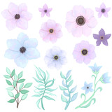 Vector Set of Pink Flowers and Blue Leaves - 199883959