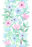 Floral Seamless Border in Pastel Colors - 199883967