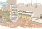 Grocery store shop interior color graphic sketch illustration vector - 199888371