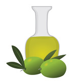 Organic Olive Oil with  olives isolated vector illustration on a white background