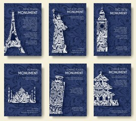 set of art ornamental travel and architecture on ethnic floral style flyers. Historical monuments of France, England, Italy, USA, Germany, Mexico