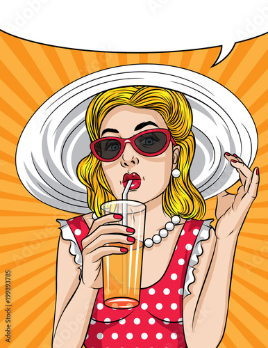 Fotobehang Pop Art Vector retro illustration pop art comic style of a pretty woman in red dress wear sunglasses and a hat. Summer time vintage poster of a beautiful girl drinking a cocktail with orange juice