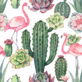 Watercolor vector seamless pattern of pink flamingo, cacti and succulent plants isolated on white background. - 199894133
